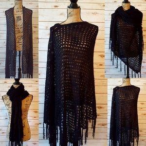 LuLaRoe Mimi Black Crochet Knit Poncho/Wrap Fringe